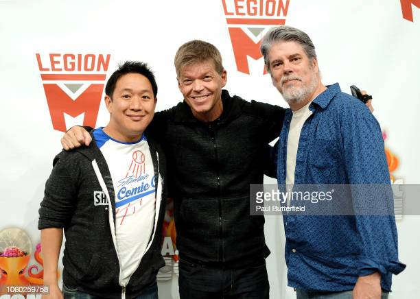 Ming Chen Rob Liefeld and Mike Zapcic pose backstage during Los Angeles Comic Con at Los Angeles Convention Center on October 27 2018 in Los Angeles...