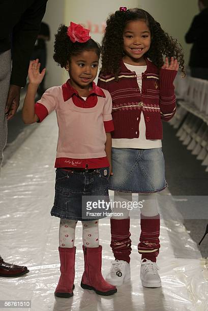 Ming Lee Simmons and Aoki Lee Simmons children of music producer Russell Simmons fashion model wife Kimora Lee Simmons walk the runway at the Child...