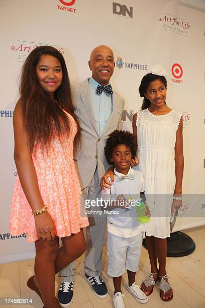 Ming Lee Simmons Russell Simmons Kenzo Lee Hounsou and Aoki Lee Simmons attend the 14th Annual Art For Life Gala A Field Of Dreams at Fairview Farms...