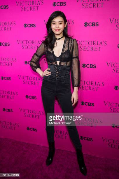 Ming Xi attends the 2017 Victoria's Secret Fashion Show viewing party pink carpet at Spring Studios on November 28 2017 in New York City