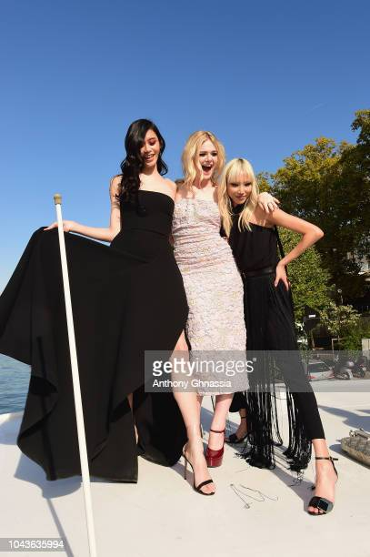 Ming Xi Elle Fanning and Soo Joo Park attend Le Defile L'Oreal Paris as part of Paris Fashion Week Womenswear Spring/Summer 2019 on September 30 2018...