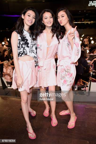 Ming Xi Estelle Chen and Liu Wen pose in Hair Makeup during 2017 Victoria's Secret Fashion Show In Shanghai at MercedesBenz Arena on November 20 2017...