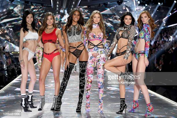 Ming Xi Grace Elizabeth Cindy Bruna Gigi Hadid Kendall Jenner and Alexina Graham walk the runway during the 2018 Victoria's Secret Fashion Show at...