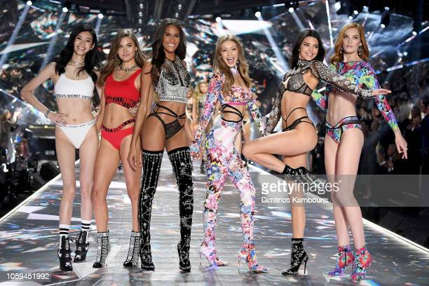 Ming Xi, Grace Elizabeth, Cindy Bruna, Gigi Hadid, Kendall Jenner, and Alexina Graham walk the runway during the 2018 Victoria's Secret Fashion Show...
