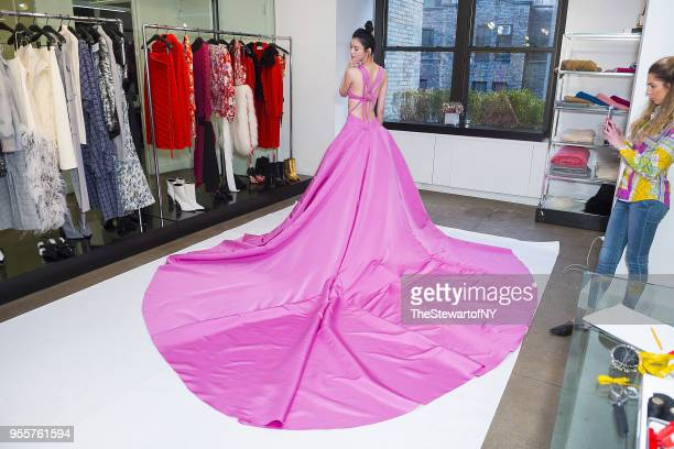 Ming Xi is seen during fittings for her dress by Prabal Gurung on May 4 2018 in New York City