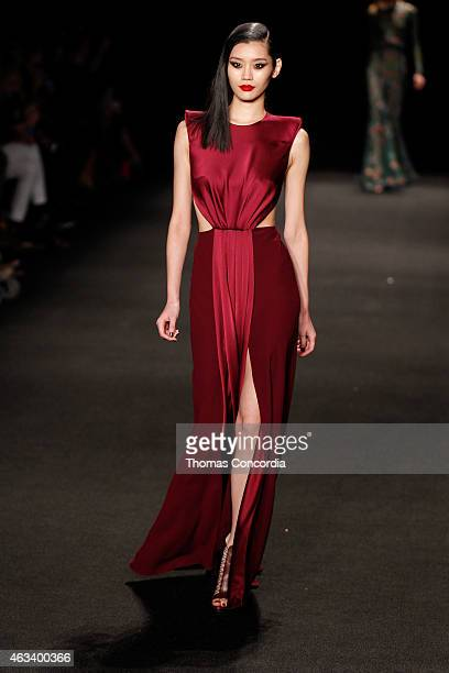 Ming Xi walks the runway wearing Monique Lhuillier Fall 2015 during MercedesBenz Fashion Week Fall 2015 at The Theatre at Lincoln Center on February...