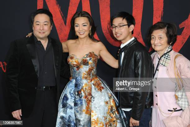 "Ming-Na Wen and family arrive for the Premiere Of Disney's ""Mulan"" held at Dolby Theatre on March 9, 2020 in Hollywood, California."