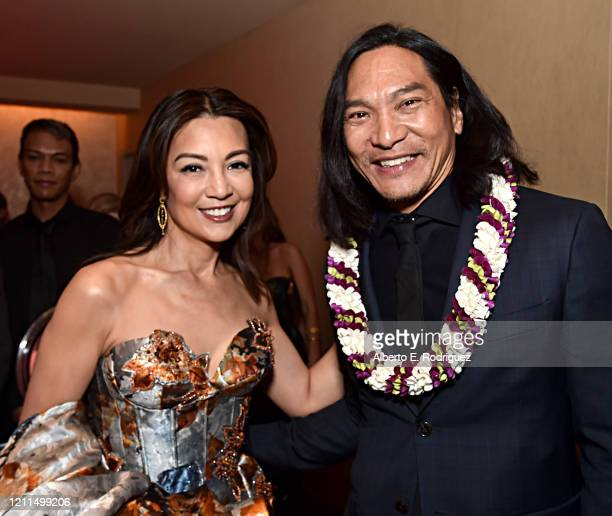 Ming-Na Wen and Jason Scott Lee attend the World Premiere of Disney's 'MULAN' at the Dolby Theatre on March 09, 2020 in Hollywood, California.