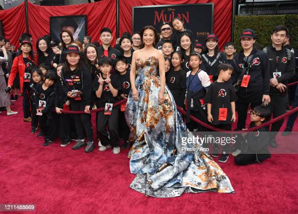 "Ming-Na Wen attends Disney's ""Mulan"" World Premiere - Red Carpet - Fan Pen at Dolby Theatre on March 09, 2020 in Hollywood, California."