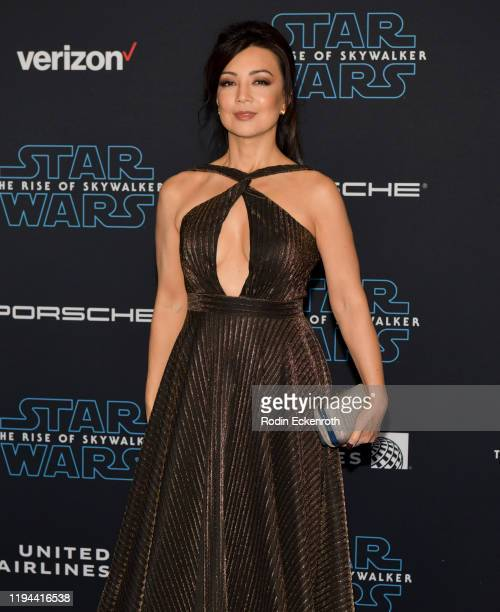 "Ming-Na Wen attends the Premiere of Disney's ""Star Wars: The Rise Of Skywalker"" on December 16, 2019 in Hollywood, California."
