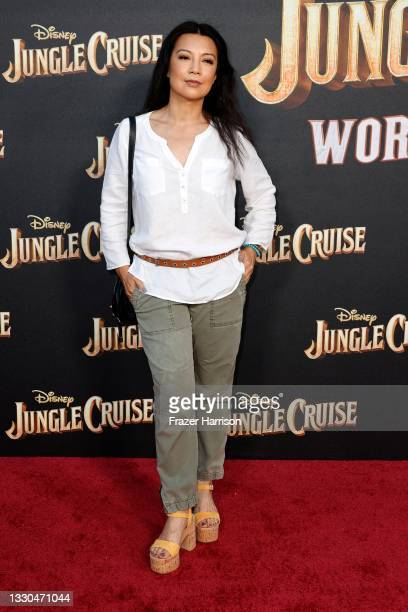 """Ming-Na Wen attends the World Premiere Of Disney's """"Jungle Cruise"""" at Disneyland on July 24, 2021 in Anaheim, California."""