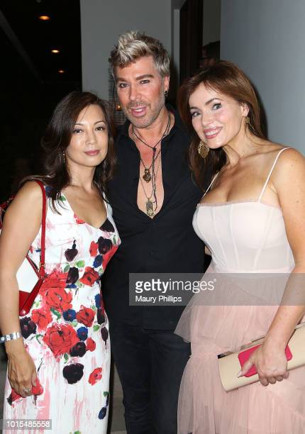 MingNa Wen Chaz Dean and Lisa Robertson attend Chaz Dean Summer Party 2018 Benefiting Love is Louder on August 11 2018 in Los Angeles California