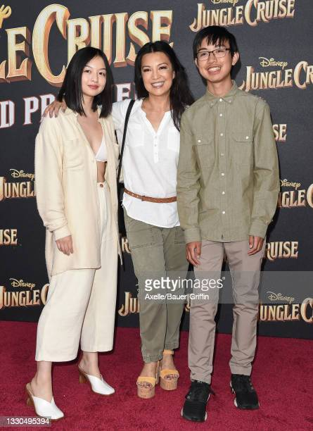 """Ming-Na Wen , Michaela Zee and Cooper Dominic Zee attend the World Premiere of Disney's """"Jungle Cruise"""" at Disneyland on July 24, 2021 in Anaheim,..."""