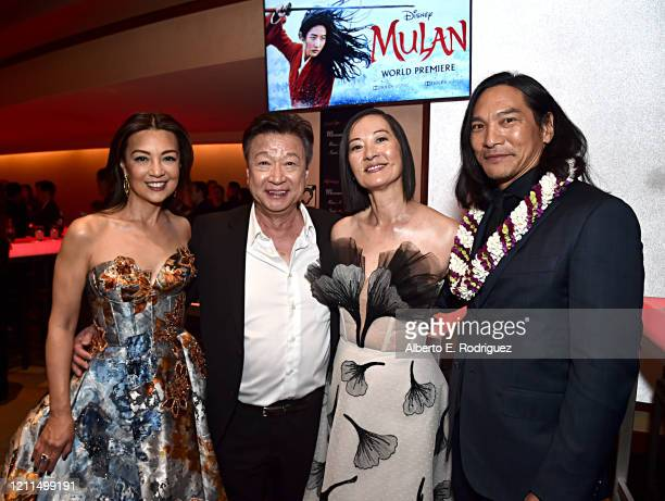 Ming-Na Wen, Tzi Ma, Rosalind Chao and Jason Scott Lee attend the World Premiere of Disney's 'MULAN' at the Dolby Theatre on March 09, 2020 in...