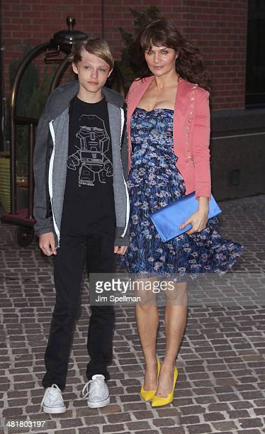 Mingus Lucien Reedus and model Helena Christensen attend The Cinema Society Screening of 'Captain America The Winter Soldier' Screening at Tribeca...