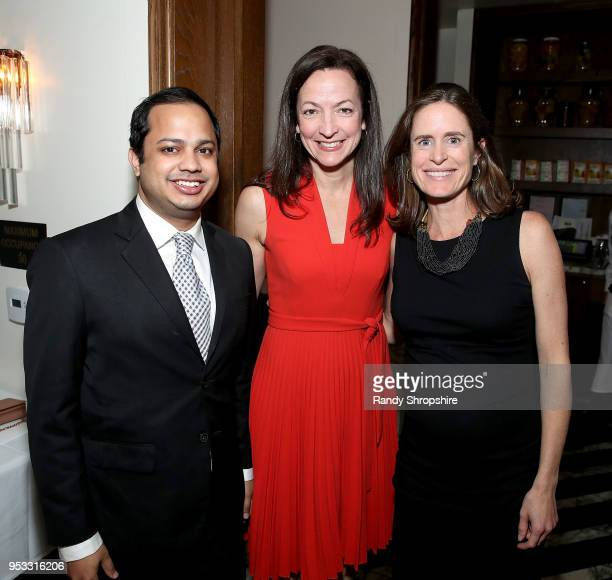 Minhaj Chowdhury Sherry Riva and Jennifer Field attend GLG Social Impact Dinner At Milken at Cecconi's on April 30 2018 in West Hollywood California