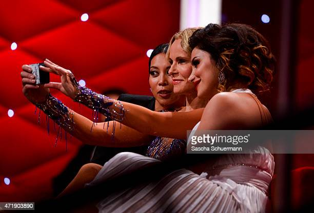 Minh-Khai Phan-Thi, Katja Burkard and Enissa Amani during the 7th show of the television competition 'Let's Dance' on May 1, 2015 in Cologne, Germany.