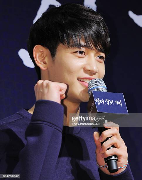 MinHo of SHINee attends the movie 'Memories of the Sword' VIP premiere at Lotte Cinema on August 11 2015 in Seoul South Korea