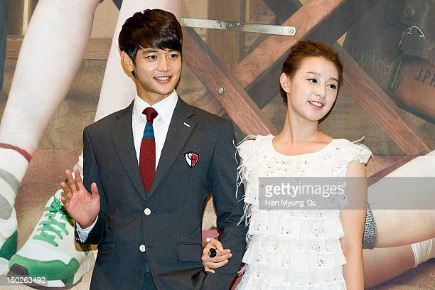 Minho of South Korean boy band SHINee and actress Kim Ji-Won attend during a press conference to promote the SBS drama 'For You In Full Blossom' on...