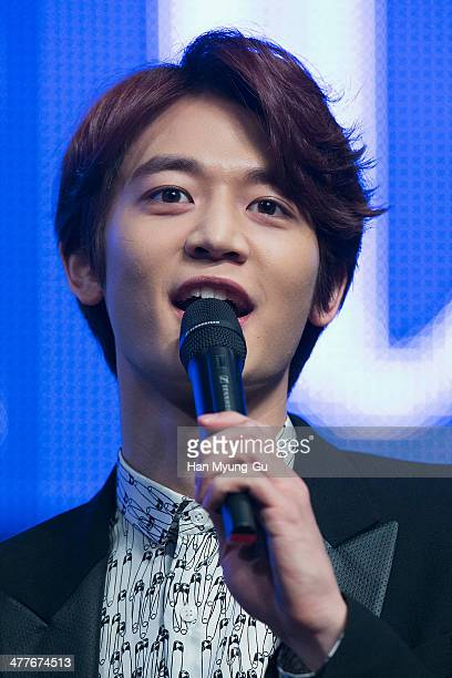Minho of South Korean boy band SHINee attends during the Toheart Woohyun Key Showcase at COEX Artium on March 10 2014 in Seoul South Korea