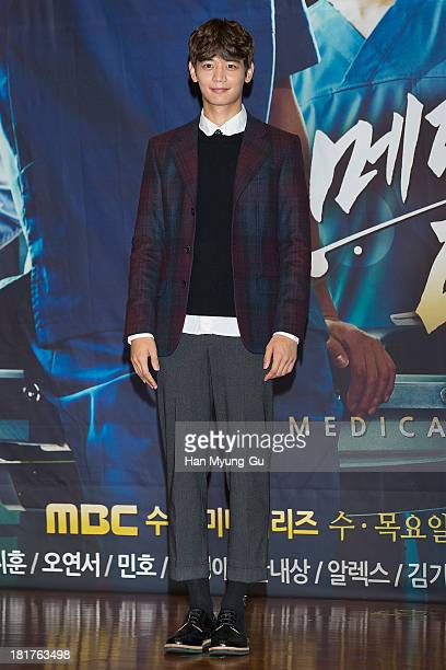 Minho of South Korean boy band SHINee attends MBC drama Medical Top Team press conference on September 24 2013 in Seoul South Korea The drama will...