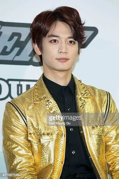 Minho of South Korean boy band SHINee attends the SHINee World III press conference on March 9 2014 in Seoul South Korea