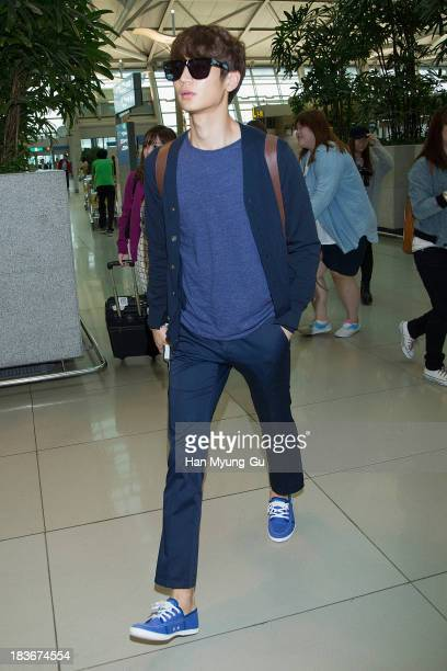 Minho of South Korean boy band SHINee is seen on departure at Incheon International Airport on October 8 2013 in Incheon South Korea
