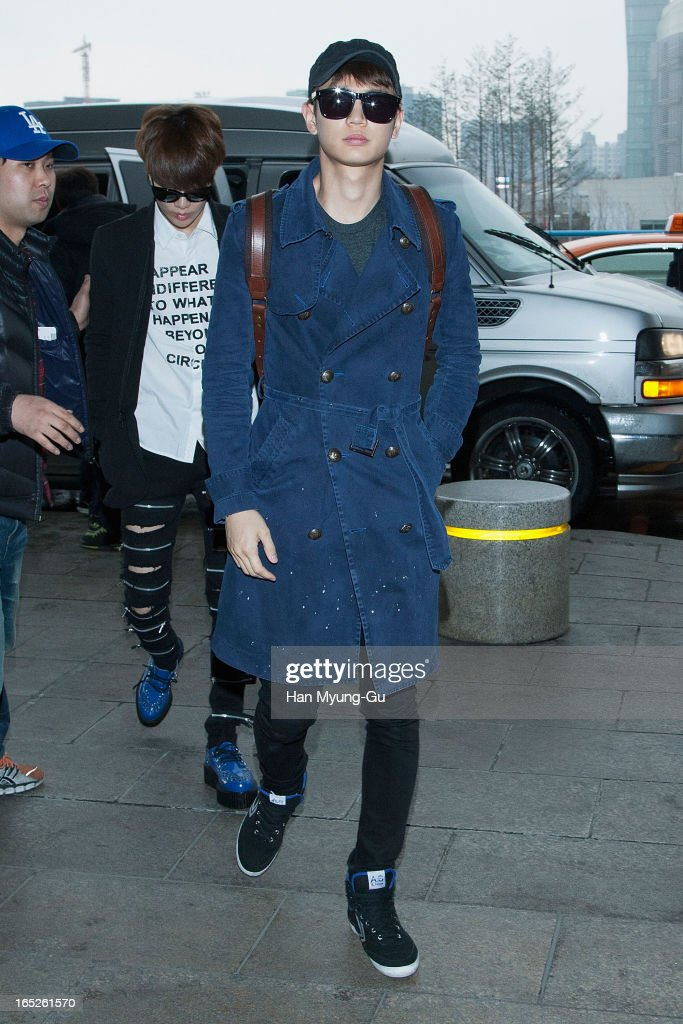 Minho of South Korean boy band SHINee is seen on departure to Japan at Gimpo International Airport on April 2, 2013 in Seoul, South Korea.