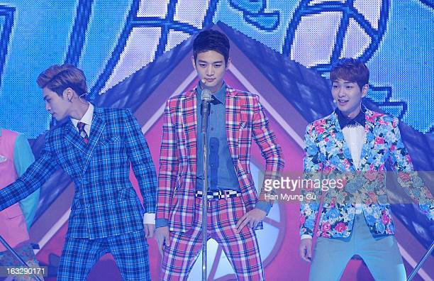 Minho of South Korean boy band SHINee performs onstage during the MBC Music 'Show Champion' at UniqloAX Hall on March 6 2013 in Seoul South Korea