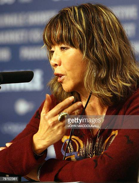 Minhoi Loanic former wife of actor late Klaus Kinski and mother of their son German actor Nikolai Kinski addresses a press conference about the movie...