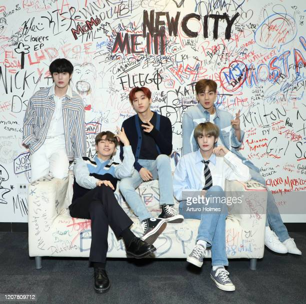 Minhyuk Kihyun IM Hyungwon and Shownu pose as Monsta X Visits Music Choice at Music Choice on February 21 2020 in New York City