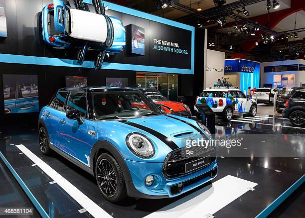 Mini 5 door compact hatchback car at the Mini stand