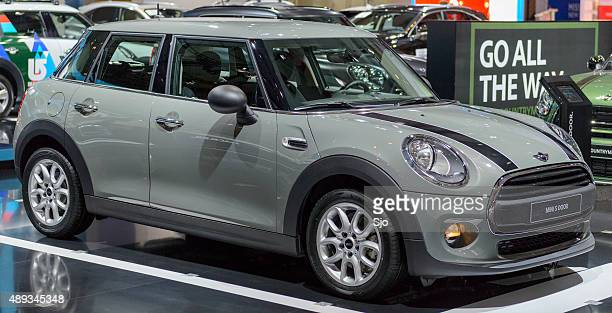 Mini 5 door compact hatchback car front view