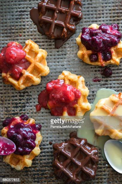 Mini Belgium Waffles with Chocolate, Vanilla, Blueberry and Strawberry Toppings