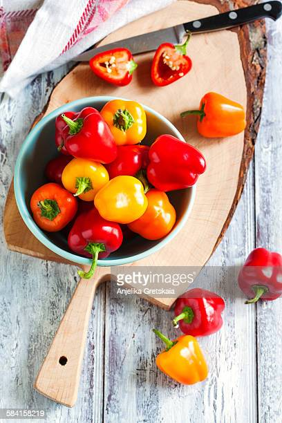 Mini bell peppers in bowl