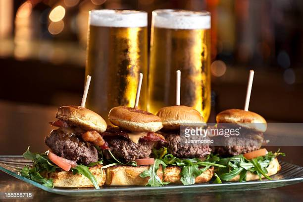 mini burgers and beer - appetizer stock pictures, royalty-free photos & images