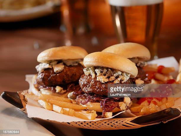Mini Burgers with Blue Cheese and a Beer