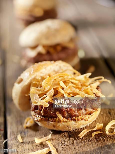 Mini Burgers with Crispy Onions and Grainy Mustard