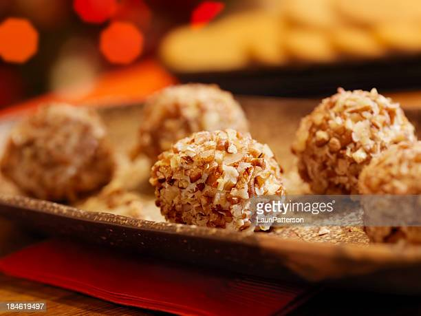 Mini Cheese Balls with Crackers at Christmas Time
