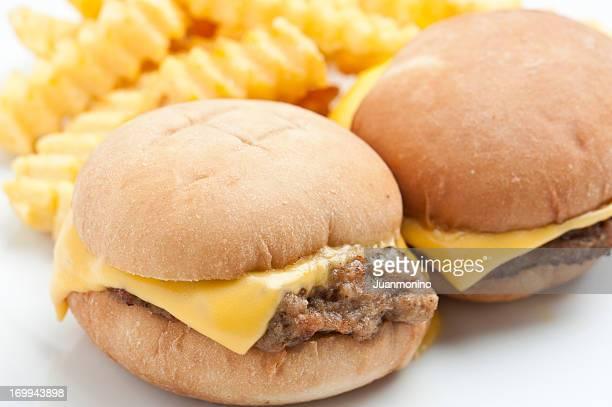 Mini cheeseburgers and fries