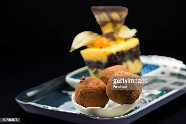 Mini chocolate cake and truffles