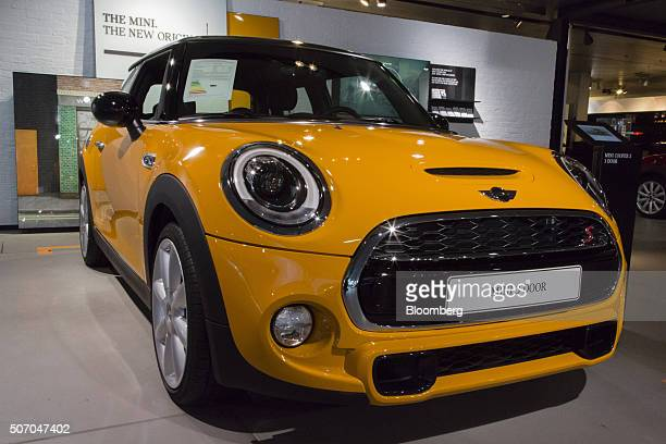 A Mini Cooper automobile produced by Bayerische Motoren Werke AG sits on display inside the BMW World showroom in Munich Germany on Tuesday Jan 26...