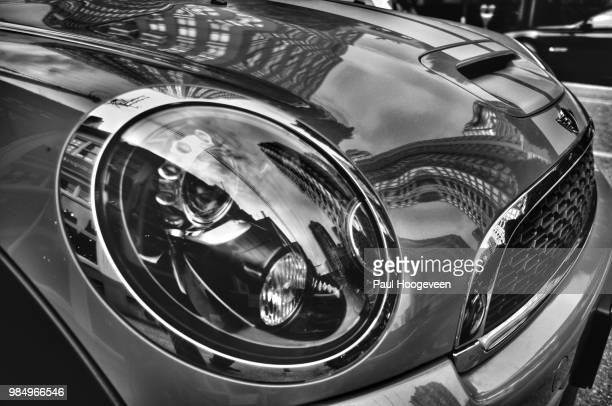 mini cooper reflections - mini cooper stock photos and pictures