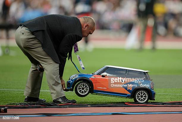 Mini Cooper remote control car athletics Day 13 Track and field at the Olympic Stadium during the 2012 London Olympic Games
