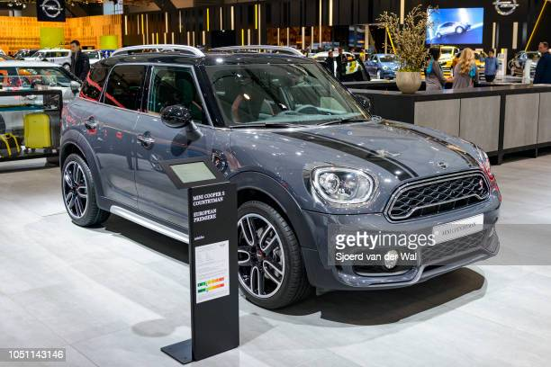 Mini Cooper S Countryman compact crossover SUV front side view on display at Brussels Expo on January 13 2017 in Brussels Belgium The Cooper...