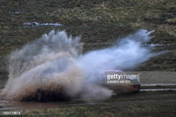 Mini Cooper Saudi pilot Yazeed Alrajhi and German copilot Timo Gottschalk compete during the third leg of the Silk Way Rally 2018 ElistaAstrakhan on...
