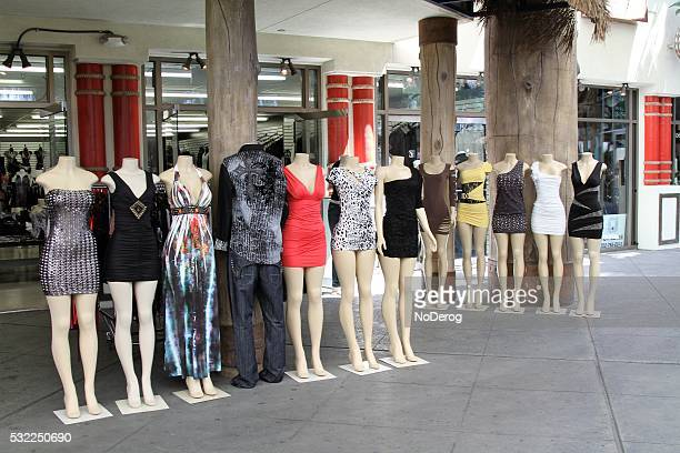 Mini dresses on mannequins