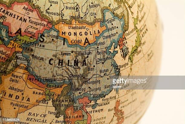 A mini globe focusing in on China