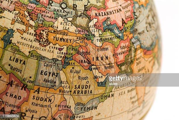 mini globe middle east - middle east stock pictures, royalty-free photos & images
