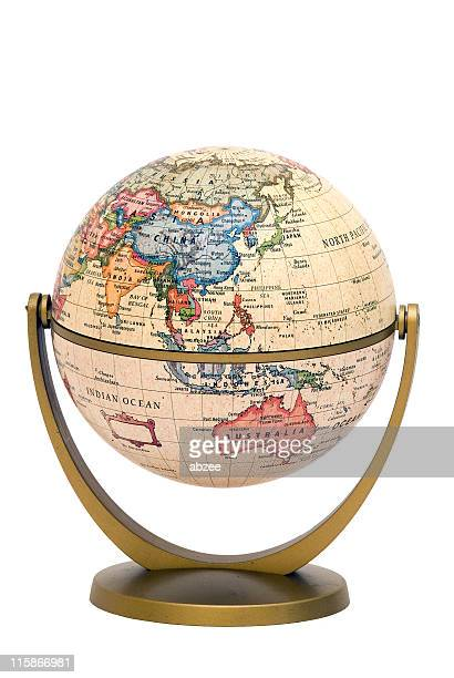 mini globe on stand asia and australia - world politics stock pictures, royalty-free photos & images